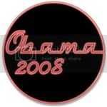 2129 Neon Red Obama Large Button