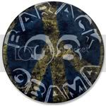 2261 Blue Barack Obama Peace Sign Large Button
