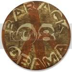 2468 Rust Barack Obama Peace Sign Large Button