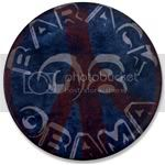2506 Red Barack Obama Peace Sign Large Button