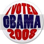 2467 I Voted Obama 2008 Big Victory Button