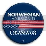3118 Norwegian Americans for Barack Obama Button - 2 -1/4&amp;quot;, BT23624