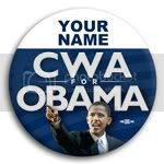 2981 Personalized CWA Obama Photo Button - 3&amp;quot;, BT23652
