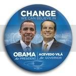 3049 Obama and Acevedo Vila Photo Button - 3&amp;quot;, BT29232