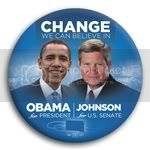3051 Obama and Johnson Photo Button - 3&amp;quot;, BT29235