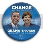 3061 Obama and Shaheen Photo Button - 3&amp;quot;, BT29245