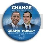 3063 Obama and Merkley Photo Button - 3&amp;quot;, BT29247