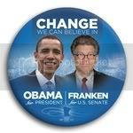 3065 Obama and Franken Photo Button - 3&amp;quot;, BT29249