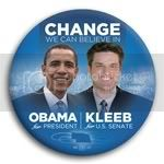 3037 Obama and Kleeb Photo Button - 3&amp;quot;, BT29260