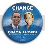 3038 Obama and Landrieu Photo Button - 3&amp;quot;, BT29261