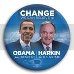 3041 Obama and Harkin Photo Button - 3&amp;quot;, BT29264