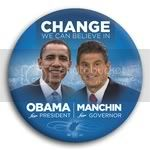 3045 Obama and Manchin Photo Button - 3&amp;quot;, BT29268