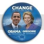 3046 Obama and Gregoire Photo Button - 3&amp;quot;, BT29269