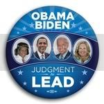 3176 Obama and Biden Judgment to Lead with Spouses Photo Button - 3&amp;quot;, BT29521