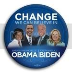 3175 Change We Can Believe In Obama and Biden with Spouses Photo Button - 3&amp;quot;, BT29522