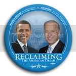 3178 Obama and Biden Reclaiming the American Dream Photo Button - 3&amp;quot;, BT29526