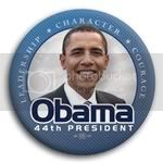 2973 Leadership, Character, Courage Obama 44th President Photo Button - 3&amp;quot;, BT29874