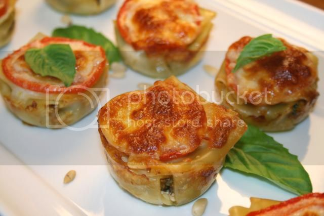 lasagna cups with Pam