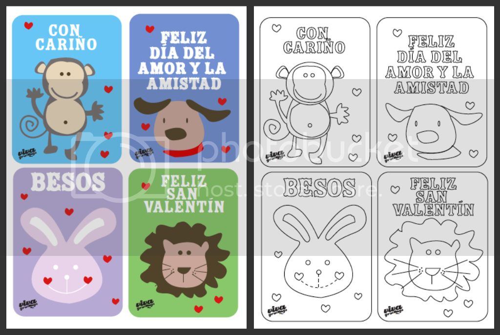 Valentines Day Cards in Spanish Coloring sheets