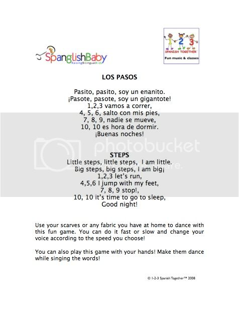 1-2-3 Spanish Together Los Pasitos activity sheet music bilingual 